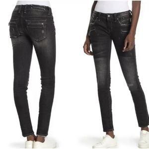 Rock Revival Moto Zip Distressed Skinny Jeans-0062
